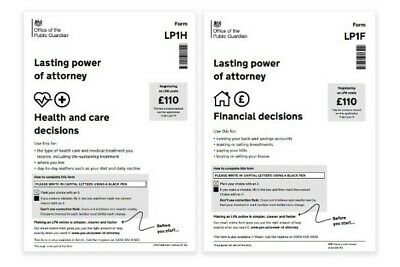 Lasting Power of Attorney basic paper forms for England & Wales