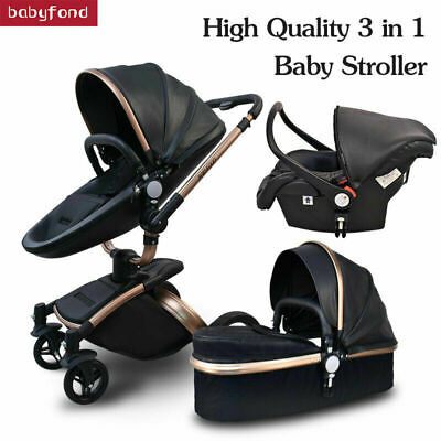 2019 3 IN 1 Luxury Baby Stroller leather Travel Car High View Pram car seat fold