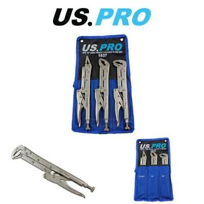 "US PRO Tools 3 Piece 12"" Flat & Curved Jaw Long Reach Locking Mole Grip Pliers"