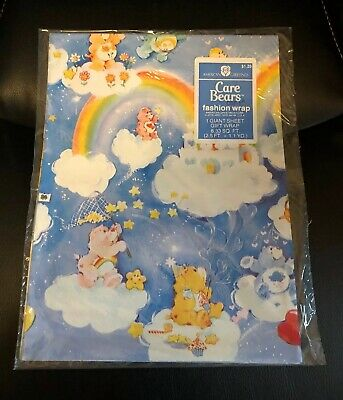 Vintage Care Bears New Sealed Gift Wrap Giant Sheet American Greetings Birthday
