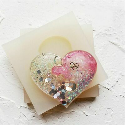 Chic Puzzle Heart Silicone Pendant Mould Jewelry Resin Necklaces Mold Cast Craft