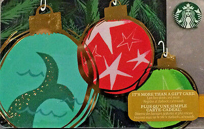 New Starbucks 2016 Christmas Holiday Gift Card Rechargeable Bilingual ! Nice!