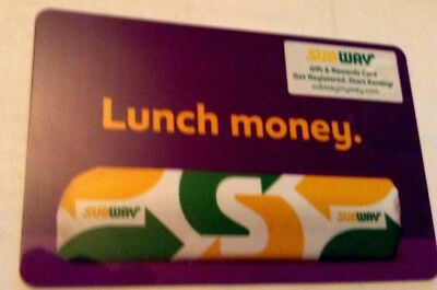 Subway Lunch Money Gift Card Rechargeable No Value