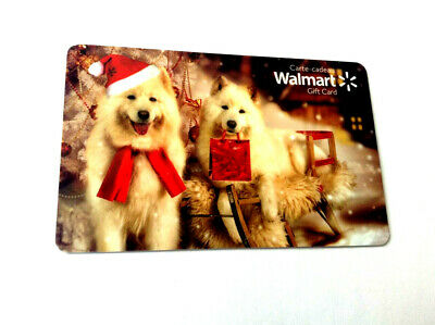 "WALMART CANADA HOLIDAY 2018 GIFT CARD ""FLUFFY DOGS W/SANTA HAT"" NO VALUE mint"