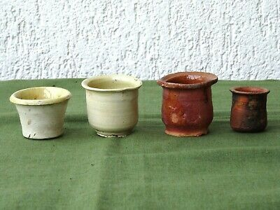 4 Nice Antique pottery ointment pots, 17th. - 18th. century Dutch
