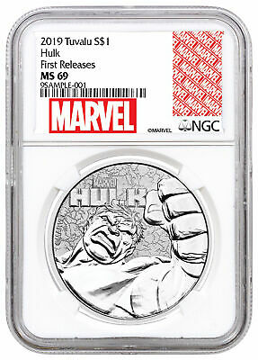 2019 Tuvalu Hulk 1oz Silver Marvel Series $1 NGC MS69 FR Marvel Label SKU58802