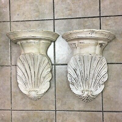 Pair Hand Carved White Washed Wooden Wall Sconce Corbel Scalloped Corinthian