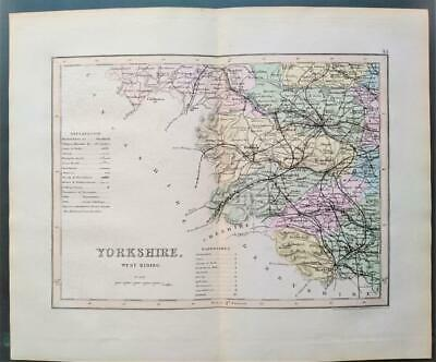 c1850; Yorkshire West Riding, England; Victorian Map; Dugdale/Archer