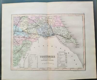 c1850; Yorkshire, parts East & West Riding, England; County Map; Dugdale/Archer
