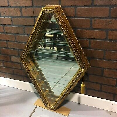 Italian Carved Display Case Vitrine Curio Cabinet Gold Wall Mirror Glass Shelves