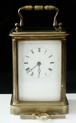 Large Brass VR Brevete Paris Carriage Clock, Simmons Fareham c.1900
