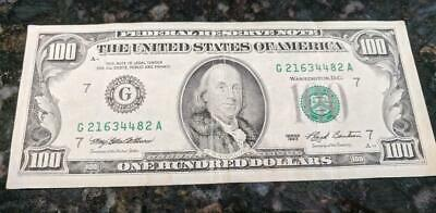 1993 $100 Bill District G7 Chicago Old Style Us Hundred Federal Reserve
