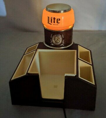 LC VINTAGE Miller Lte Beer Bar Caddy With Light Organizer for Napkins Straws Eec