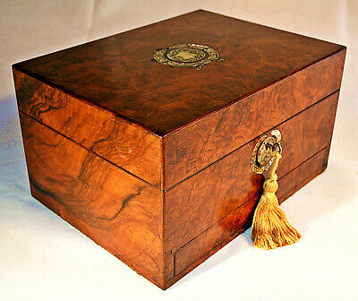 Victorian Burr Walnut fully fitted Vanity Box with Key, circa 1870