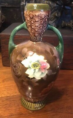 Beautiful Czech Majolica Art Nouveau Style Two-Handled Vase w Roses Brown Green