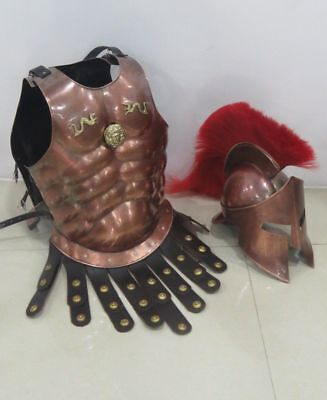 Medieval Copper Muscle Armour W/Spartan Helmet Halloween Costume