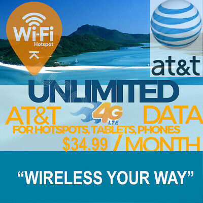 AT&T Unlimited 4G LTE Data-$34.99 Per Month Hotspots/Tablets/Phones-Rare Plan