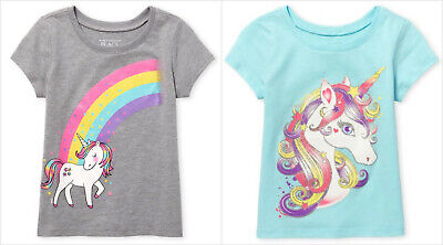 NWT The Childrens Place Unicorn Baby Girls Short Sleeve Shirt 12-18 18-24 Months