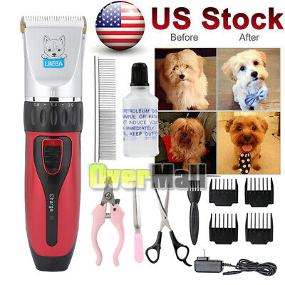 Pet Professional Nail Grooming Clippers Kit For Dog Hair Trimmer Groomer Set RED