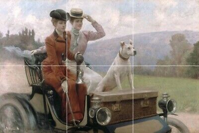 "Victorian glamour french women antique automobile tile mural backsplash 12""x18"""