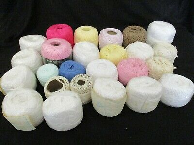 ~MILFORD/OTHER CHAIN MERCER CROCHET/KNIT COTTON x 25 PARTIAL BALLS - COLOURED~~