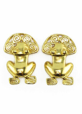 ACROSS THE PUDDLE 24k Gold Plated Pre-Columbian Frog with Spirals Drop Earrings