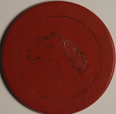 Horse Head Casino Chip Token Red Brown 6.78 Grams 38mm!@!