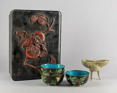 Set of Chinese Antique Bronze & Porcelain Cups