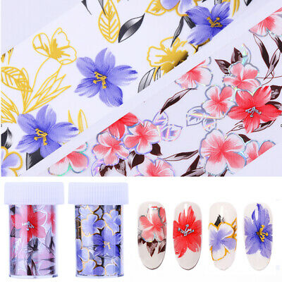 Nail Foils Holographic Flowers Transfer Stickers Nail Art Decals Decoration Tips