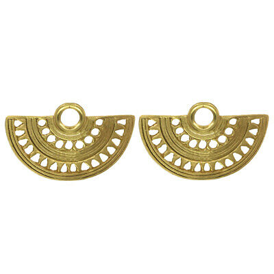 ACROSS THE PUDDLE 24k Gold Plated Pre-Columbian Fan Nose Ring Stud Earrings