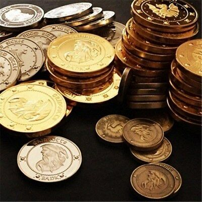 3pc Gold Plated Noble Collection Harry Potter The Gringotts Bank Coin Collection