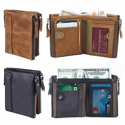 Mens Luxurious 100% Genuine RFID Bifold Leather Wallet Pocket With Zip Cash Coin