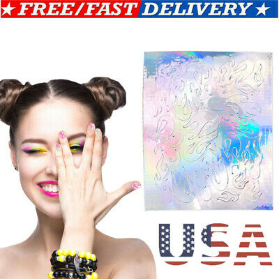 16Pcs Holographic Fire Flame Hollow Stickers Fires Manicure Stickers Nail Art US