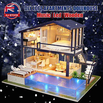 DIY LED Music Apartments Dollhouse Miniature Wooden Furniture Kit Doll House A