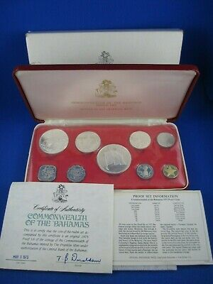 1975 Commonwealth Of The Bahamas - 9 Coin Proof Set. With Silver