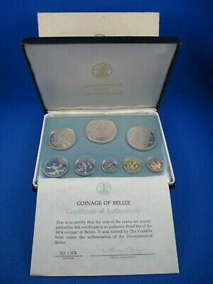 1974 COINAGE OF BELIZE - 8 COIN PROOF SET. TOTAL ASW 2.8377oz
