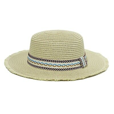 WITHMOONS Boater Skimmer Sailor Straw Amish Hat Banded 1920 Costumes QZW0059