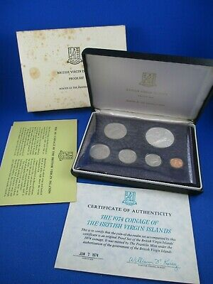 1974 BRITISH VIRGIN ISLANDS - 8 COIN PROOF SET.  .7643 ounces of Silver.