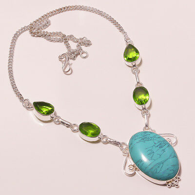 """Awesome Tibetan Turquoise Peridot Quartz Silver Plated Handmade Necklace 17""""18"""""""