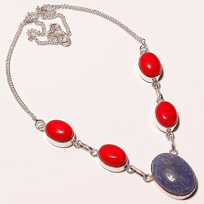 """Awesome ! Lapis Lazuli Spongy Coral Silver Plated Handmade Necklace 17""""18"""""""