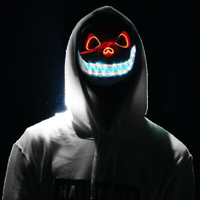 2019 LED Glow Up Mask Helmet Cosplay Horror Halloween Costume Haunted House Prop
