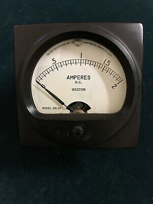 Vintage WESTON Amperes DC Meter Gauge 0-2 Model 301-57