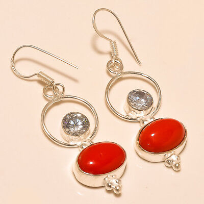 """Awesome ! Spongy Coral White Topaz Silver Plated Handmade Earring 1.75""""(e-1)"""