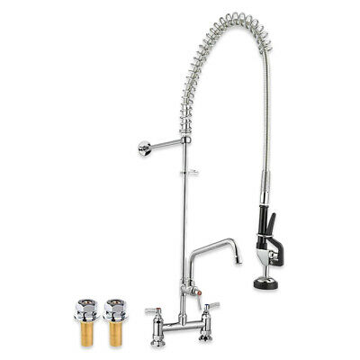 "COMMERCIAL PRE RINSE KIT 7"" 178mm TWIN FEED PEDESTAL SPRAY ARM TAP FAUCET SINK"