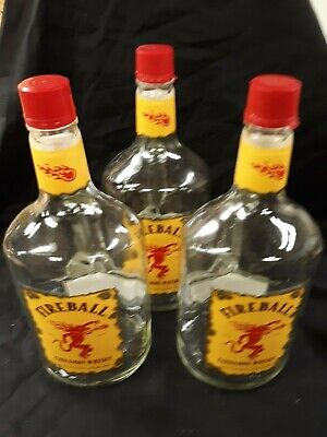 Lot of 3 Empty Fireball Cinnamon Whisky Bottles/1.75 Liter / Excellent Condition