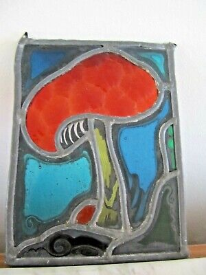 Small Antique Fired Handpainted Stained Glass Mushroom  Window
