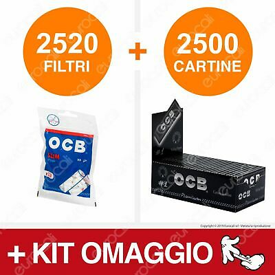 2520 Filtri OCB Slim 6mm 2500 Cartine OCB Premium Nere Corte Box Bassa Densità
