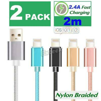 2X 2m Apple Lightning Cable Charger Compatible iPhone 7 Plus 6 5 S 8 X iPad
