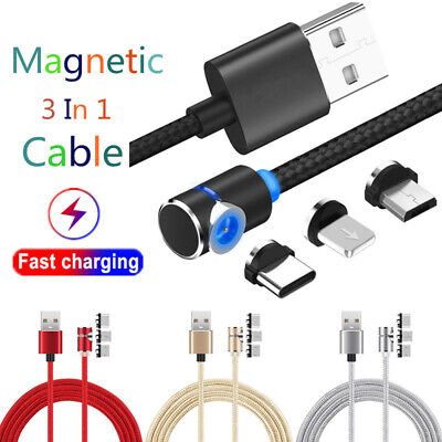 L-Shape Fast Magnetic Type-C Micro USB Charging Charger Cable For iPhone Samsung