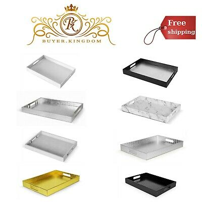KITCHEN DINING DECORATIVE Ottoman Serving Tray With Handles